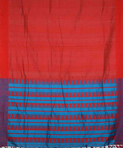 Red and Blue Handloom Assam Cotton Saree