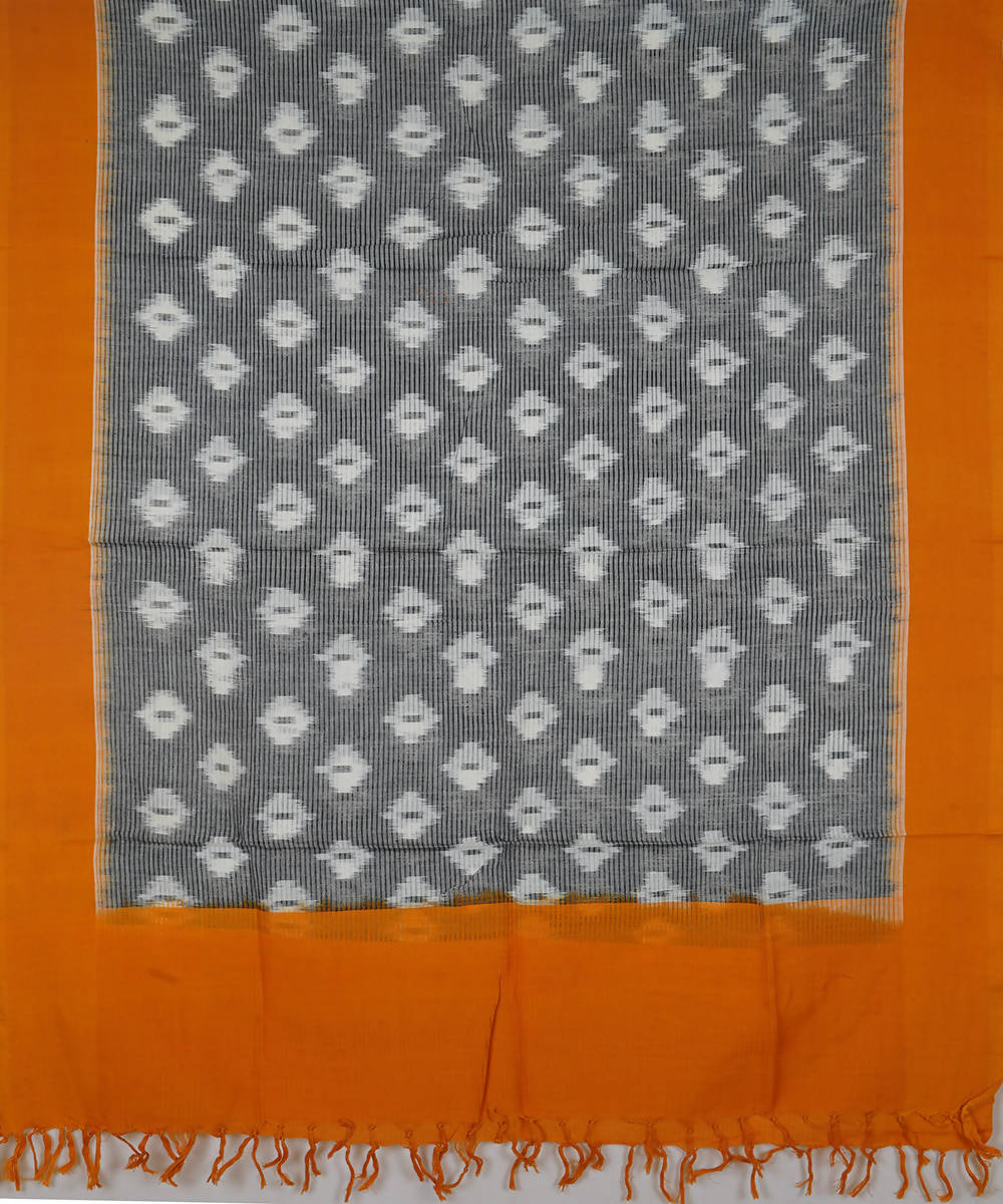 grey and orange Handwoven Pochampally ikat cotton Dupatta