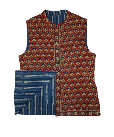 Blue and maroon hand block printed cotton reversible jacket