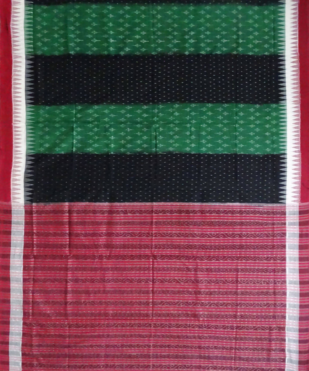 Dark Green and Black Sambalpuri Cotton Handwoven Saree