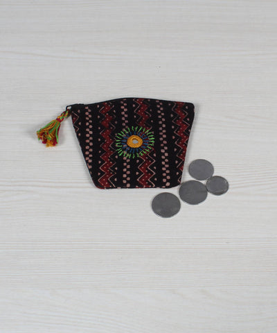 Lambani Embroidery Black Maroon Coin Pouch