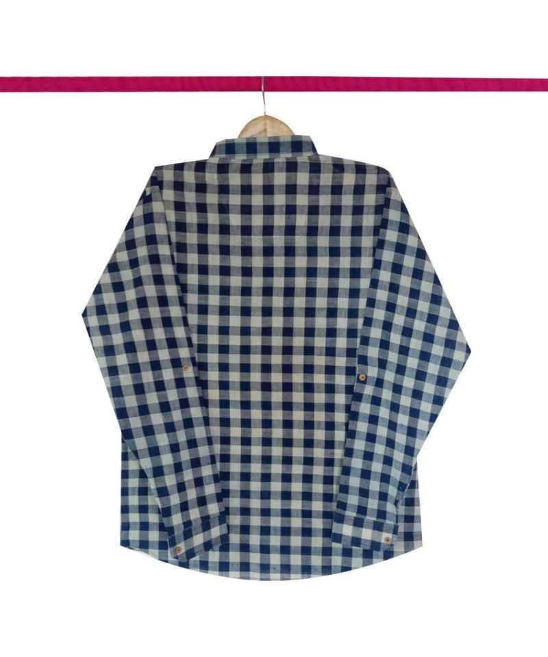 Handspun Handwoven Cotton Indigo White Checks Shirt