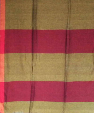 Bengal Dark Olive Cotton Handwoven Saree