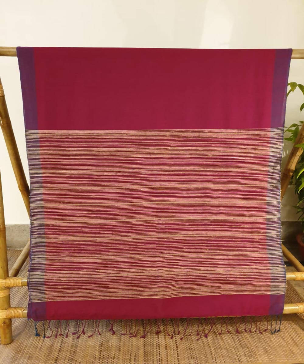 Maroon assam handloom cotton and ghiccha saree