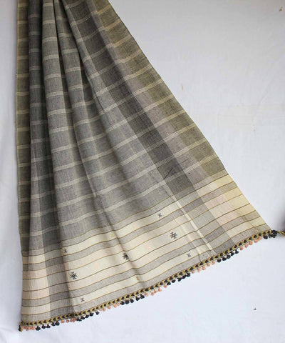 Grey with white stripes kala cotton handloom dupatta