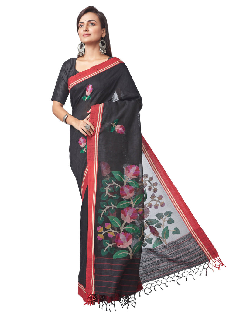 Biswa Bangla Handloom Matka Silk Jamdani Saree - Black