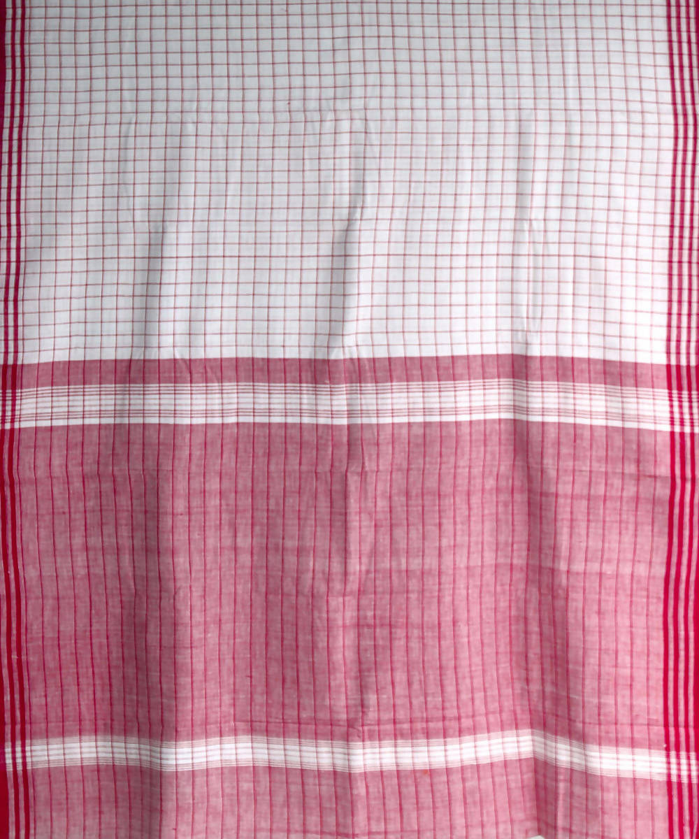 red white checks khadi handwoven cotton saree