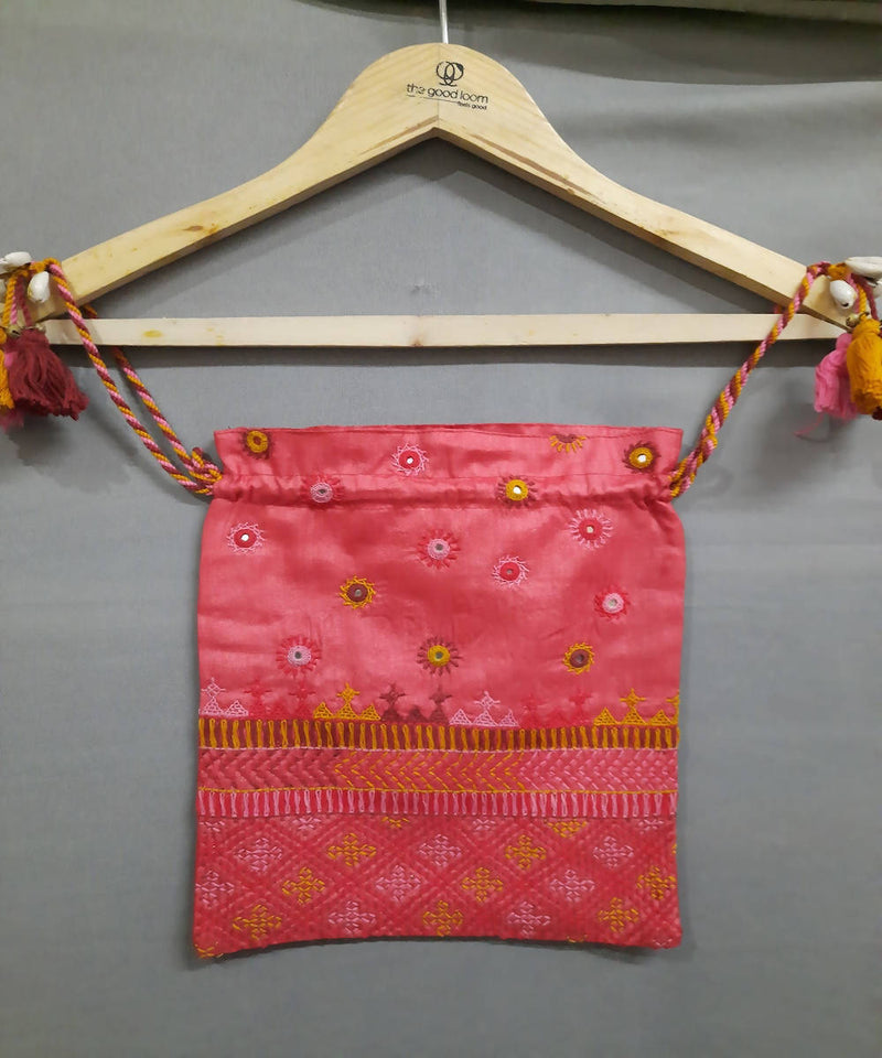 bright peach lambani hand embroidery silk cotton batwa pouch