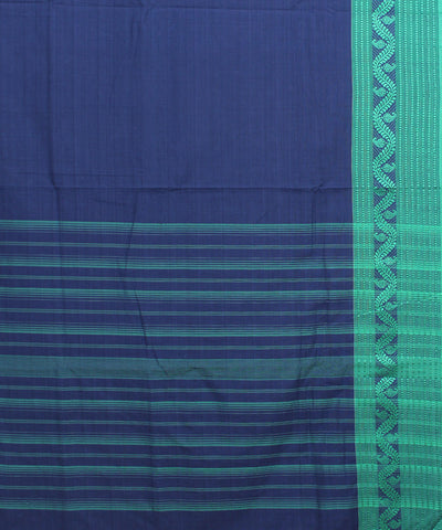 Navy and Green Bengal Handwoven Cotton Saree