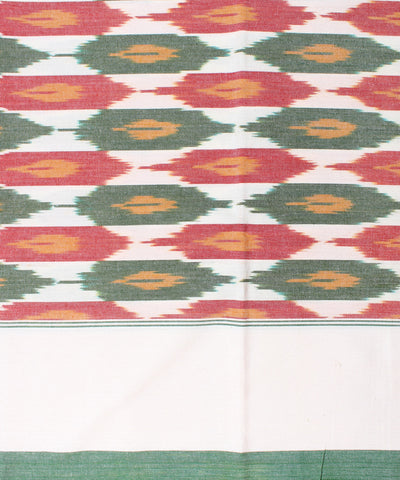 Beige-Green Handloom Ikat Single Bedsheet