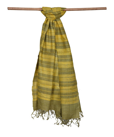 Green and Yellow Handloom Eri Silk Stole