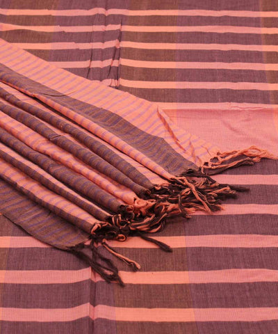 Handwoven Peach Coffee Brown Cotton Saree