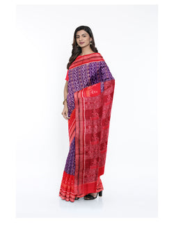 Lavender Red Sambalpuri Cotton Ikat Saree
