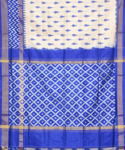 Off White Blue Ikkat Handloom Silk Saree