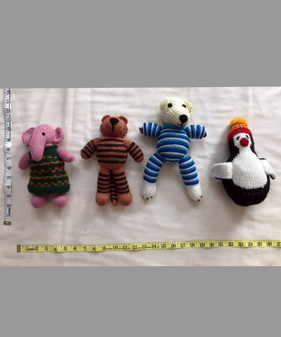 Animal Hand Knitted Woollen Stuffed Toys Combo Set of 4
