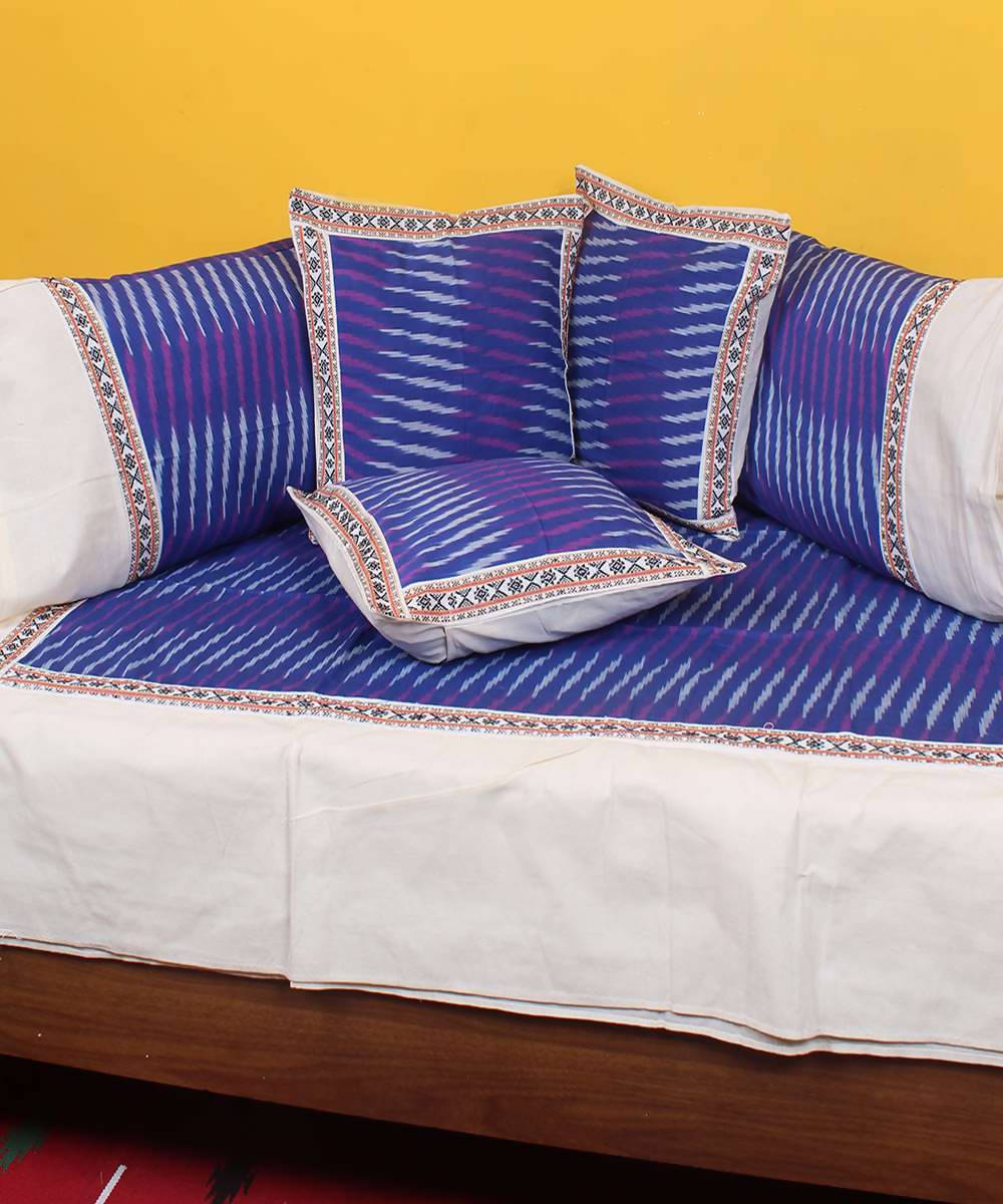 Blue purple handloom pochampally ikkat diwan set