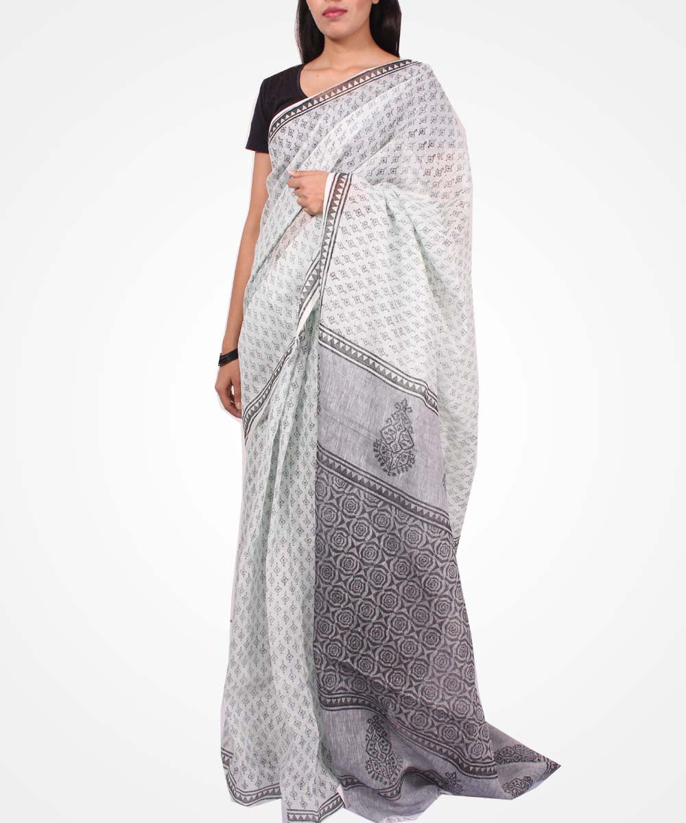 Handwoven Mint And Grey Linen Saree