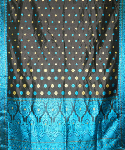 Black And Blue Handwoven Assam Silk Saree