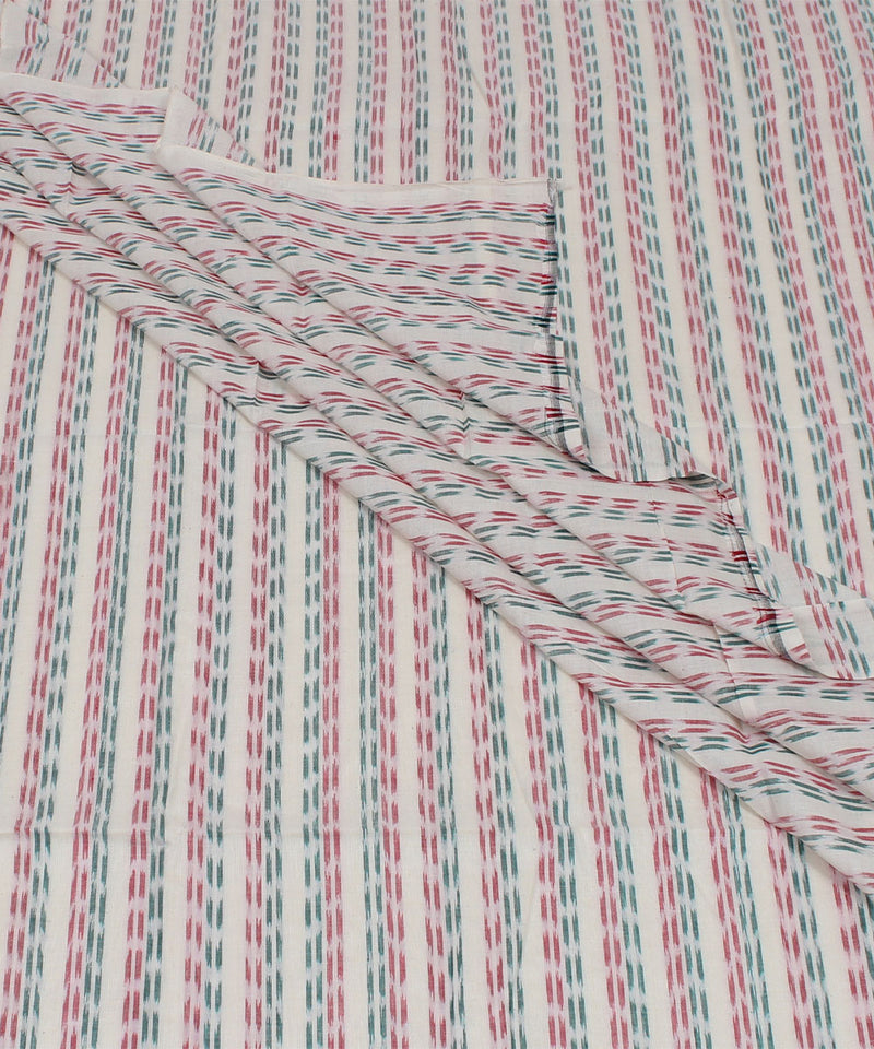 Nuapatna Handloom Cotton White Stripe Fabric