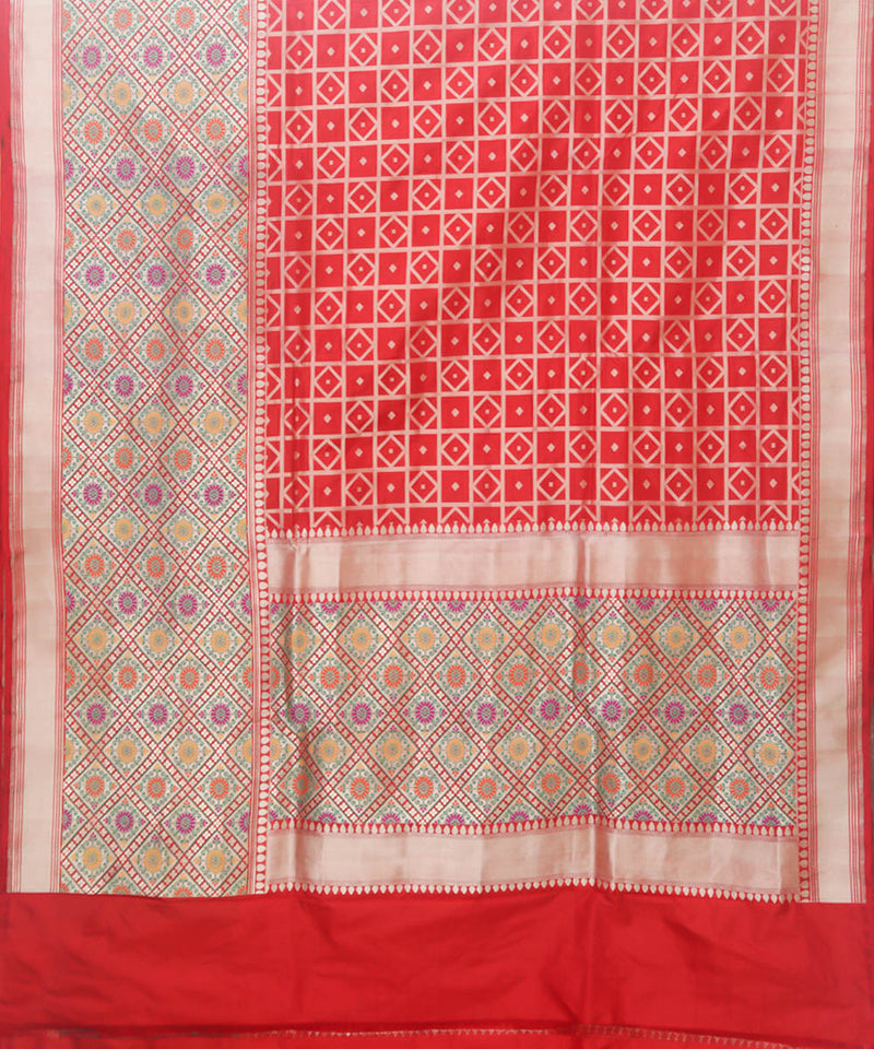 Red Checks Banarasi Handloom Silk Saree