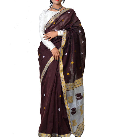 Brown and Silver Assam Cotton Saree