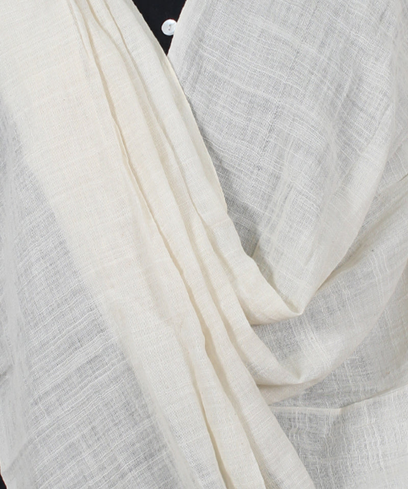 White And Ash Handwoven Cotton Dupatta