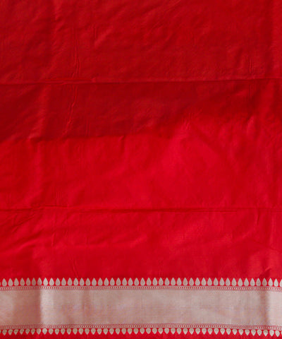 Red checks handloom silk banarasi saree