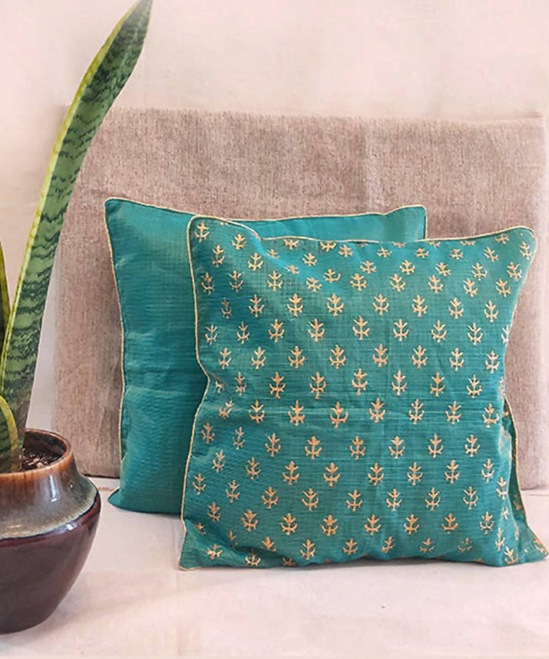 Handmade solid green kota festive cushion cover