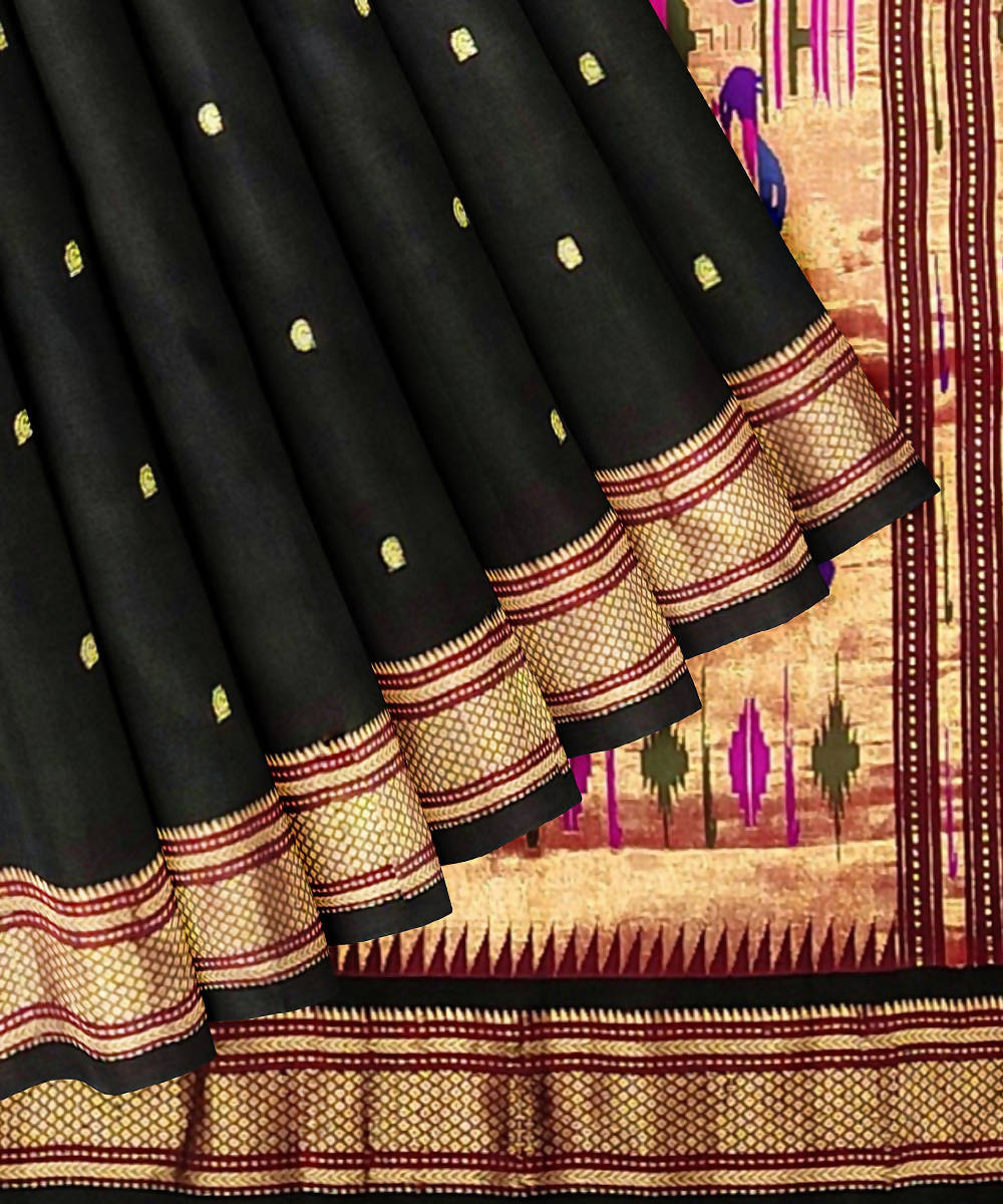 Black Handloom Paithani Silk Saree
