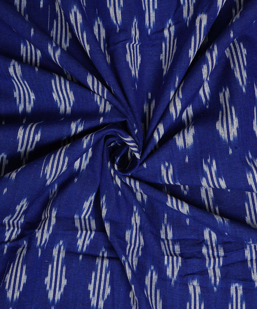 Blue Handloom Pochampally Ikat Cotton Fabric