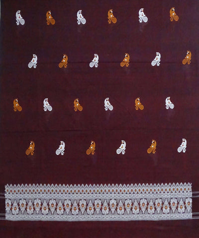 Deep Maroon Bomkai cotton Handwoven Dress Material