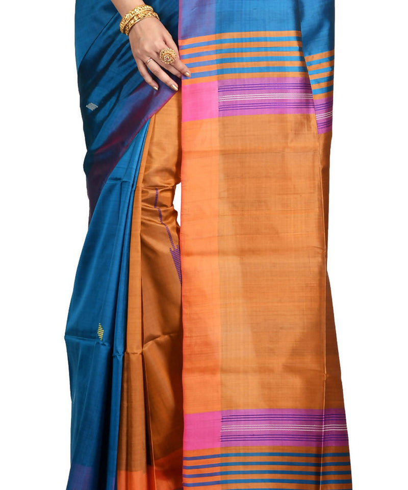 Resham shilpi cyan blue bengal silk saree with handwoven design