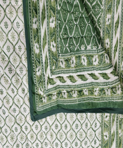 White Green Handblock Printed Cotton Quilt