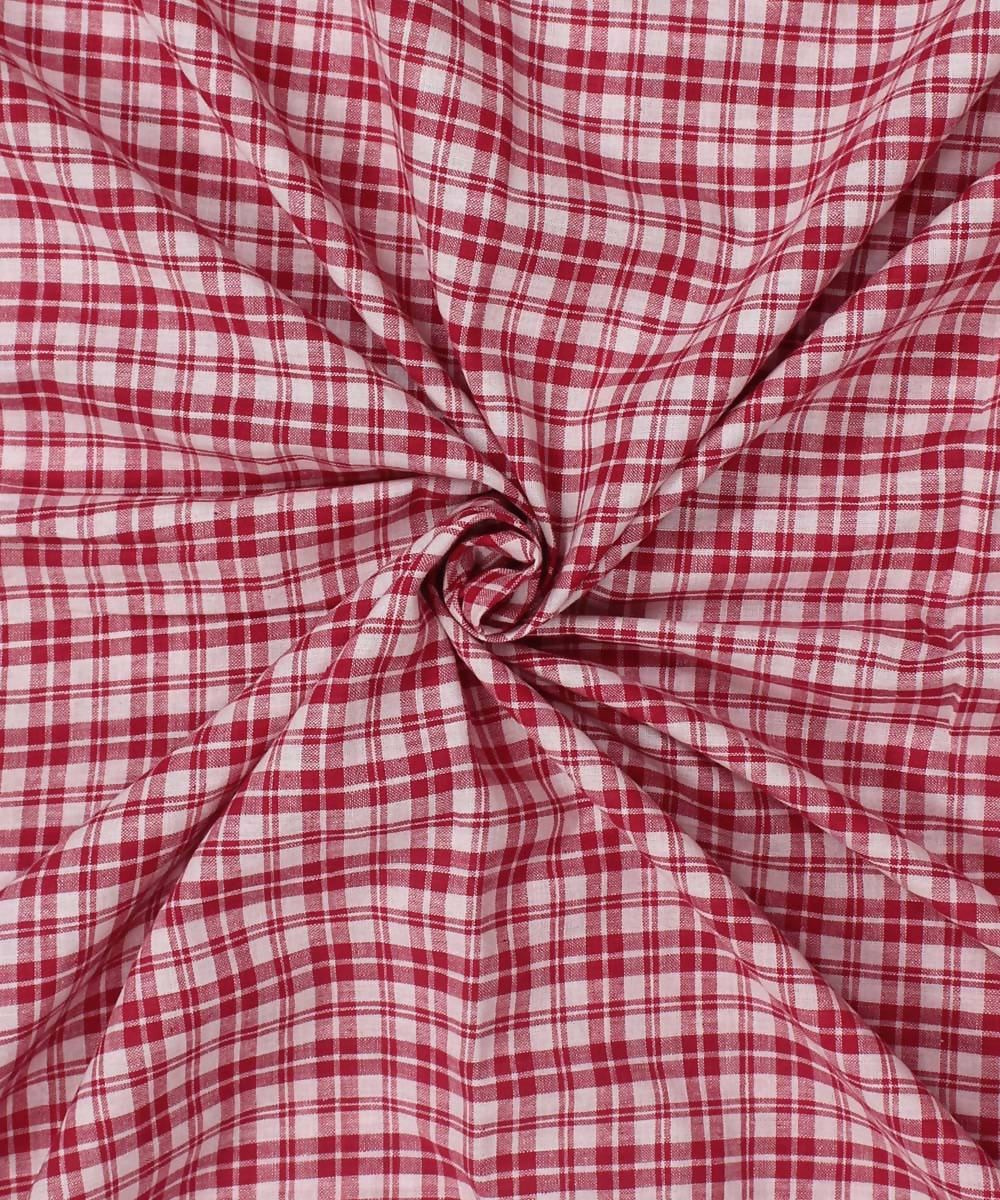 Handwoven Red Off White Checks Cotton Fabric