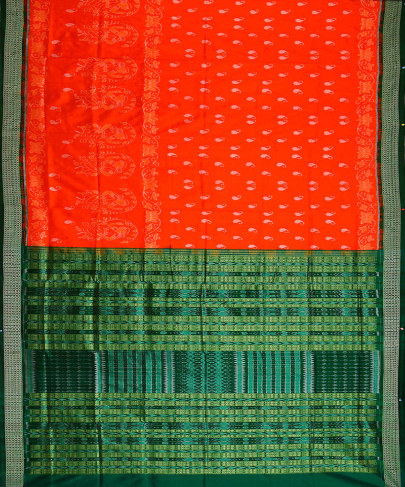 Orange handwoven ikat silk sambalpuri saree