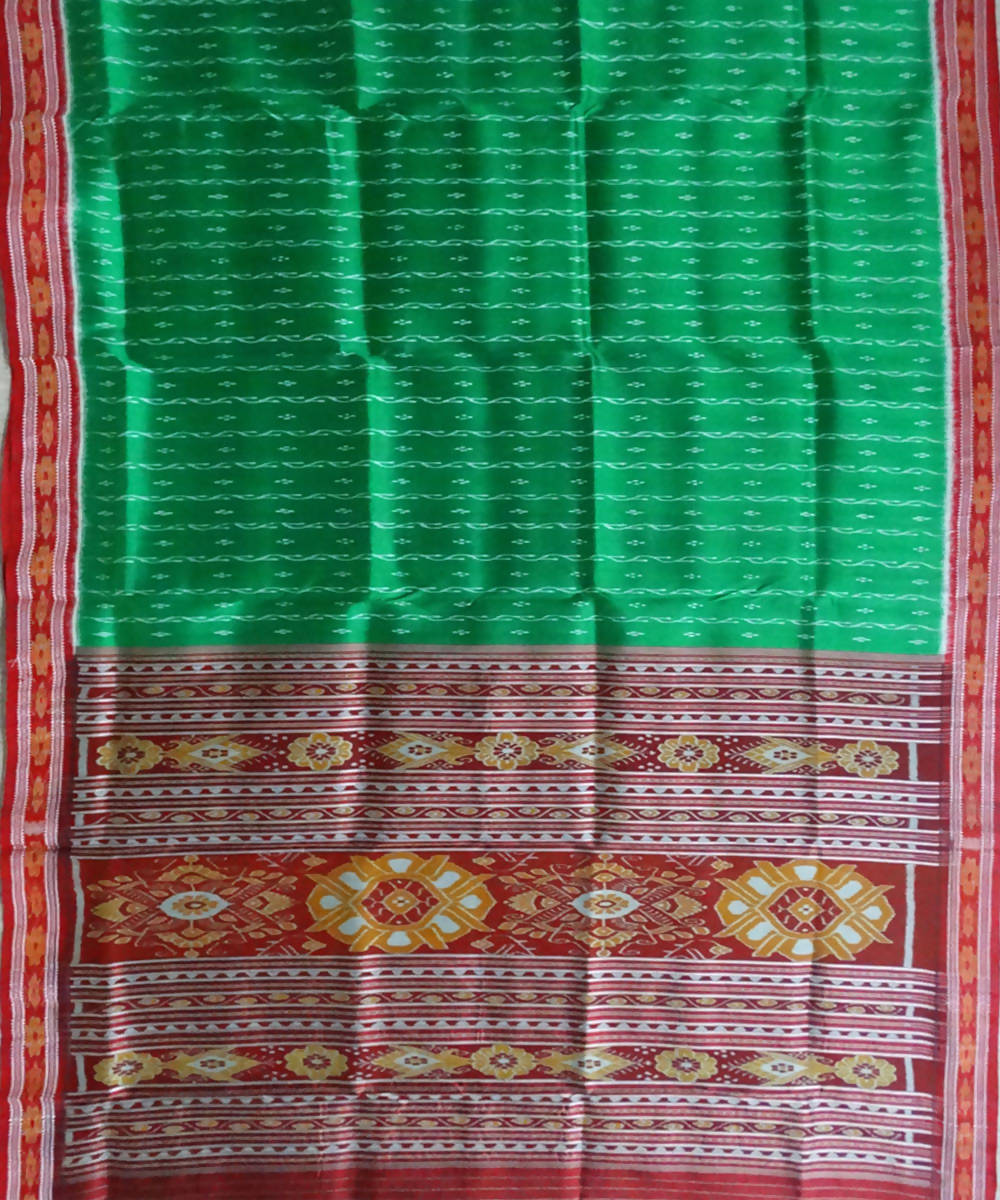Green Nuapatna Ikat Handloom Silk Saree