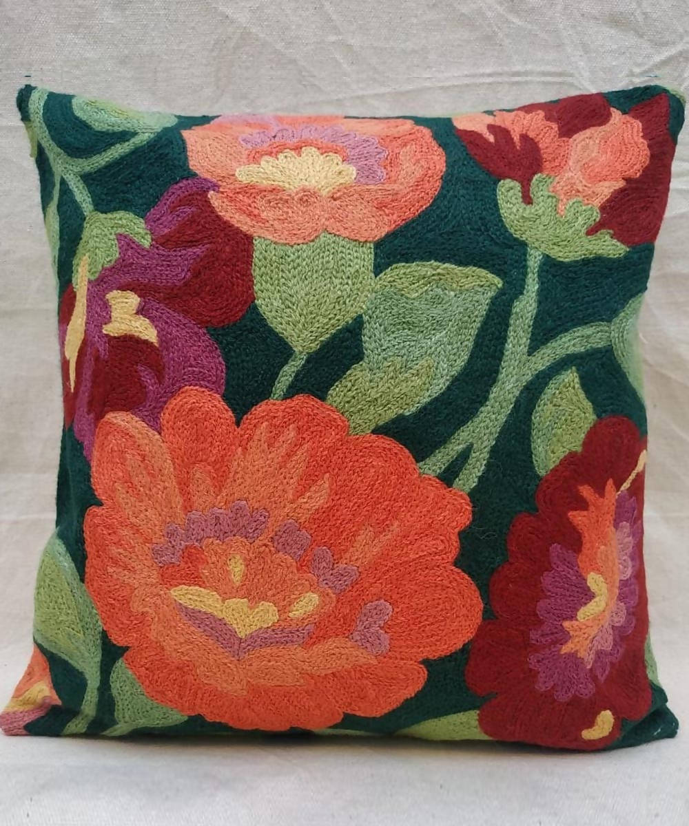 Hand embroidery green cotton woolen cushion cover