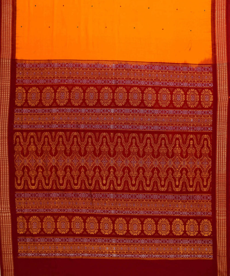 Handloom bomkai yellow cotton saree