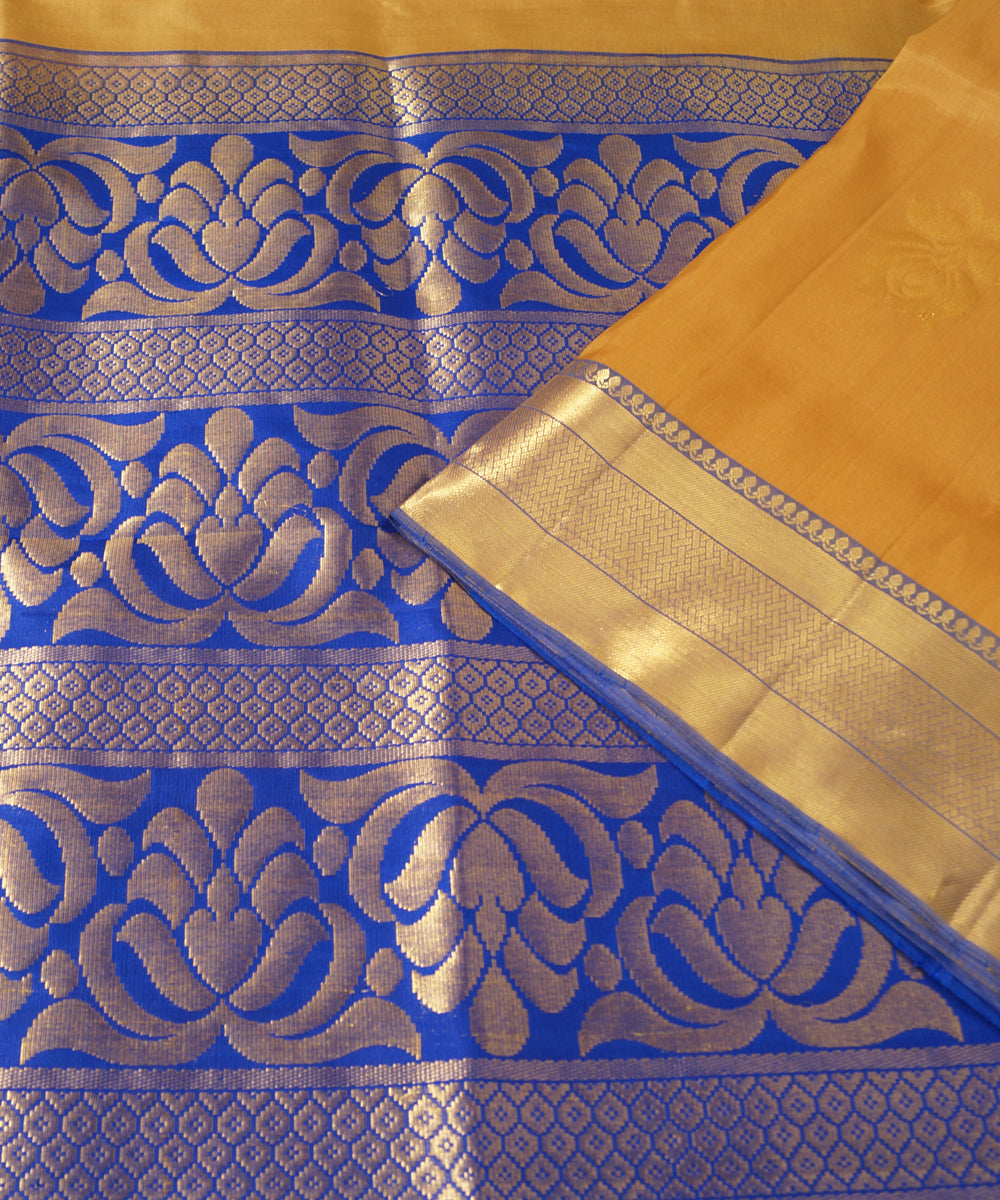 Light Brown and Blue Handloom Soft Silk Saree