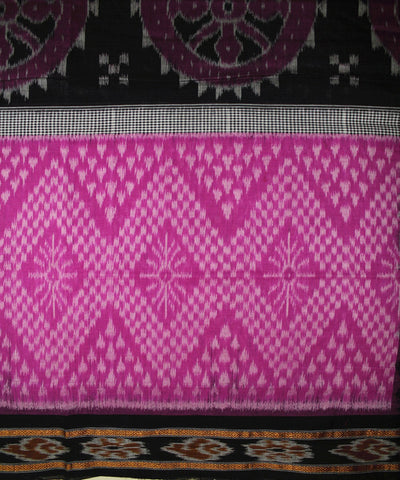 Handwoven Nuapatna Ikat Cotton Saree in Magenta and Black