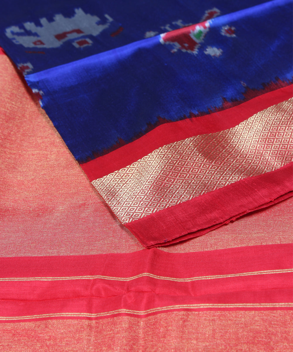 Blue Handwoven Ikat Silk Saree