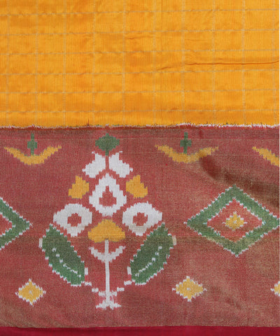 Orange Yellow Check Handloom Ikkat Silk Saree