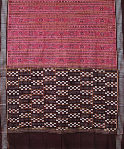 Handwoven Patli Sambalpuri Ikat Cotton Saree in Brink Pink and Dark Maroon