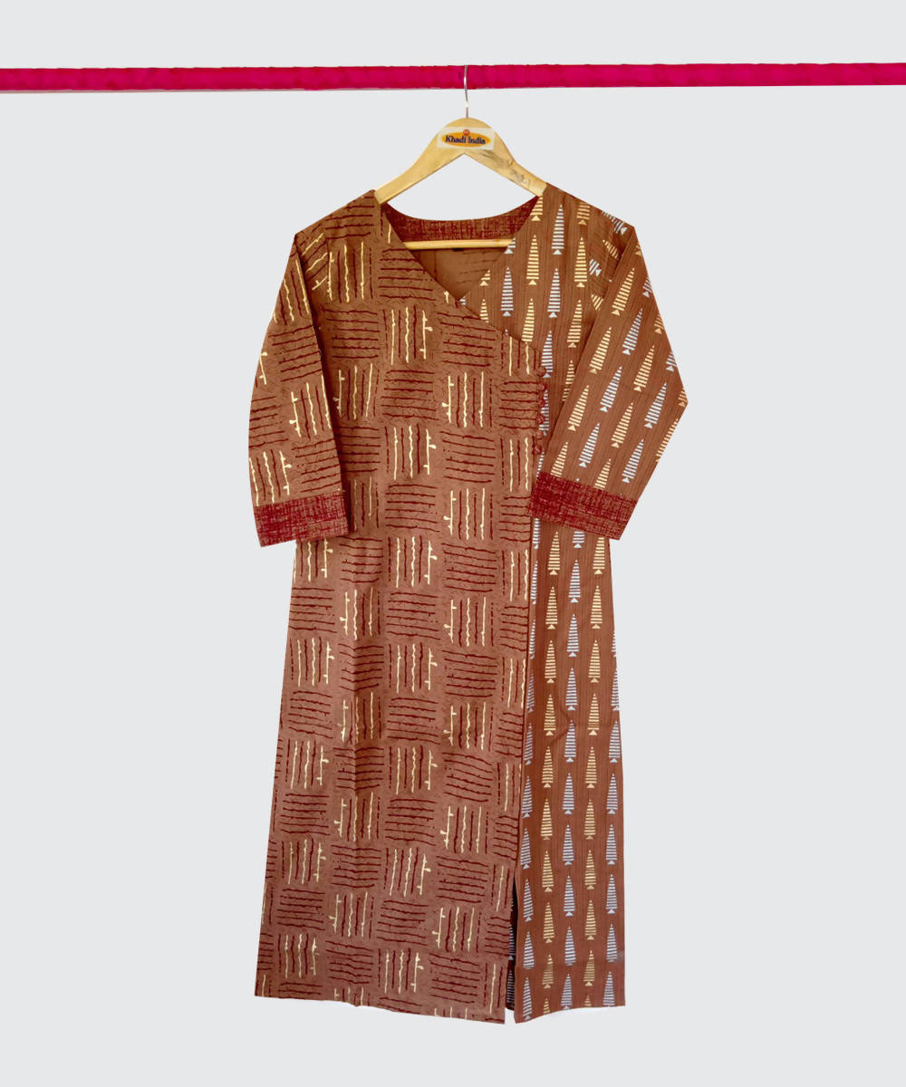 Brown Printed Handspun Handwoven Cotton Kurti