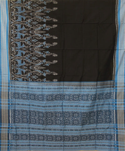 Handwoven Sambalpuri Ikat Cotton Saree in Black and Dodger Blue