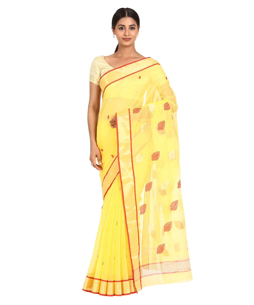 Yellow Brown Handwoven Chanderi Sico Saree