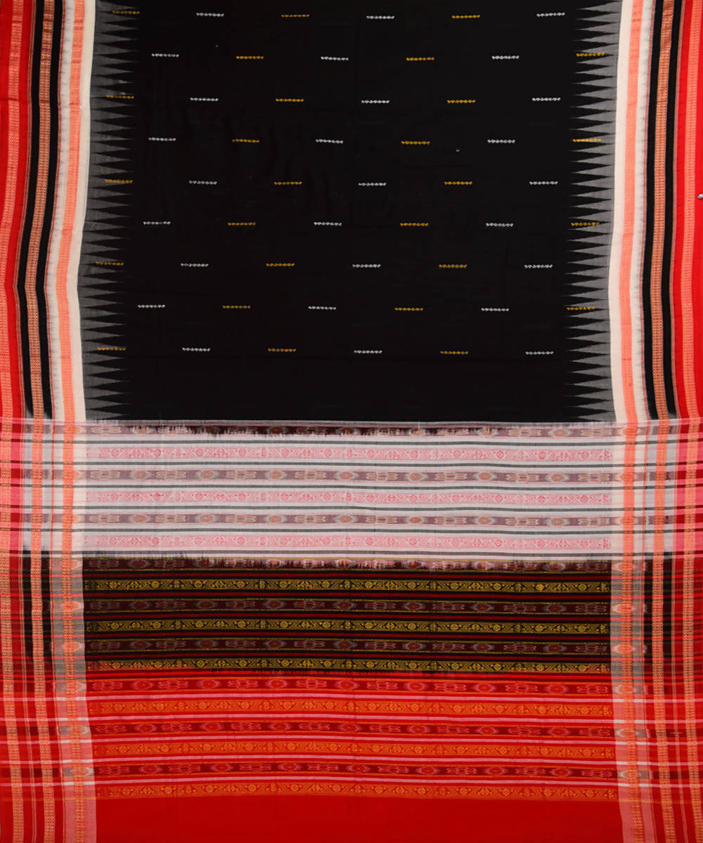 Black handwoven bomkai cotton saree