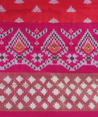Pinkish Orange Handloom Ikkat Silk Saree