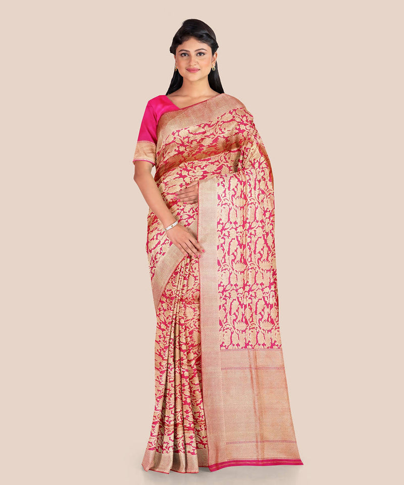 Red and beige handloom silk shikargah katan banarasi saree