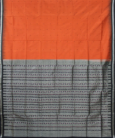 Handwoven Bomkai Silk Saree of Sonepur in Flame and Black